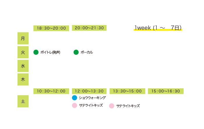 レッスンプログラムスケジュール 1week