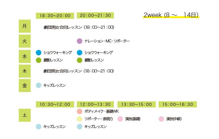 レッスンプログラムスケジュール 2week